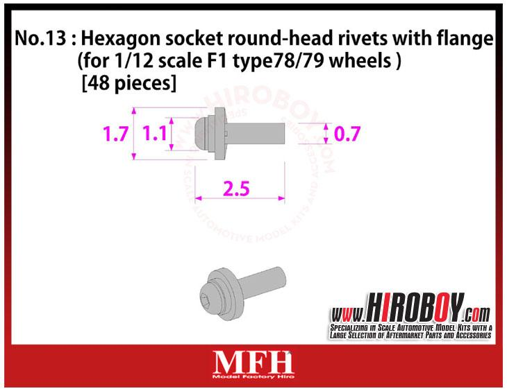 Metal Rivets Series No.13 : Hexagon socket round-head rivets with flange [48 pieces] P1029