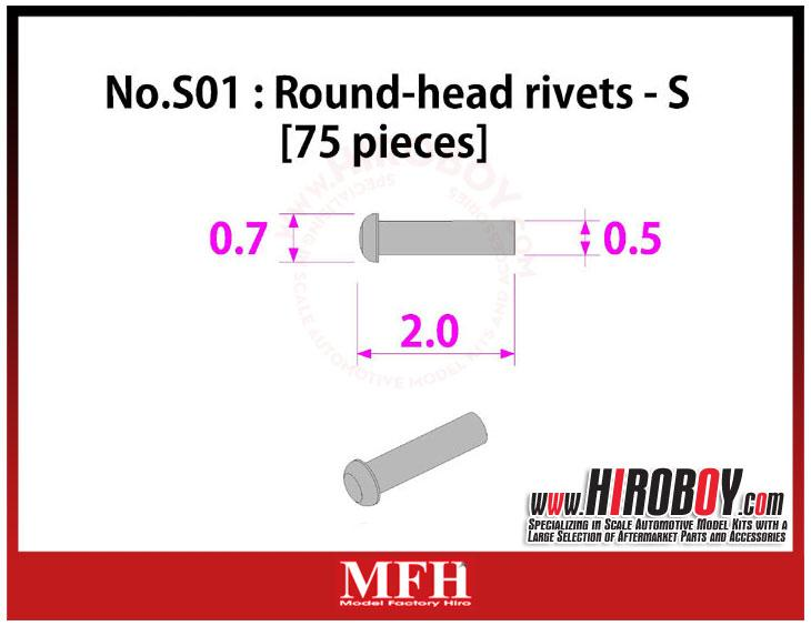 Metal Rivets Series No.S01 : Round-head rivets  S [75 pieces] P1017