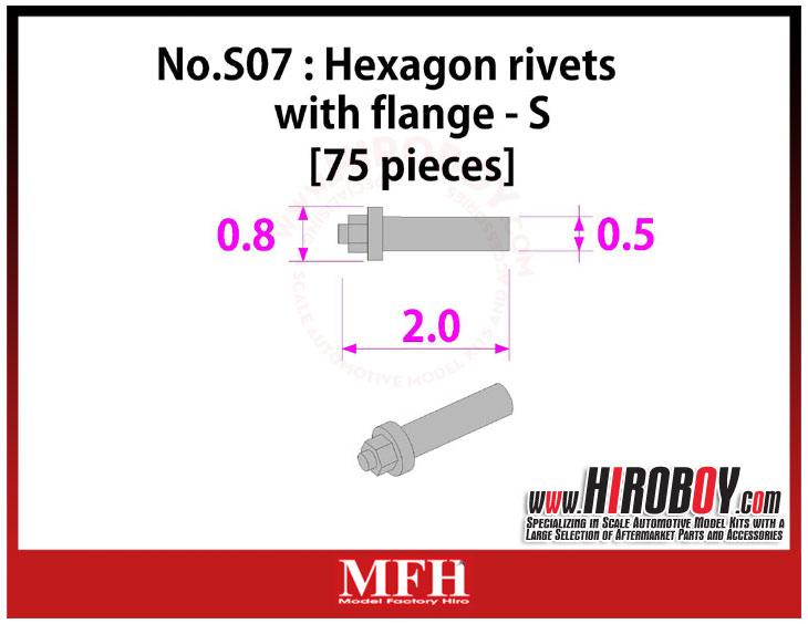 Metal Rivets Series No.S07 : Hexagon rivets with flange  S [75 pieces] P1023