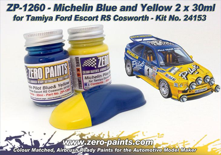 Michelin Pilot Blue & Yellow Paint Set 2x30ml For Ford Escort RS #24153
