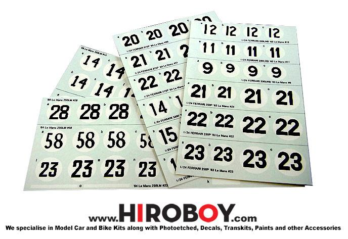 1:24 Race Number Decals - P943