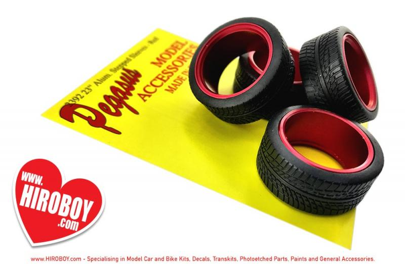 "Red 23"" Stepped Aluminium Wheels Sleeves c/w Tyres"