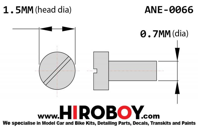 Slot Head Bolt/Rivet Stainless (LLL) - 1.5mm x 0.7mm (x50)