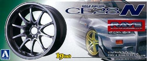 "1:24 Volk Racing CE28 19"" Wheels and Tyres (Titanium Silver)"