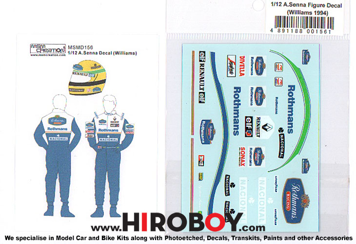 1:12 Figure Decal Ayrton Senna (Williams 1994) | MSMD156 | MSM Creation
