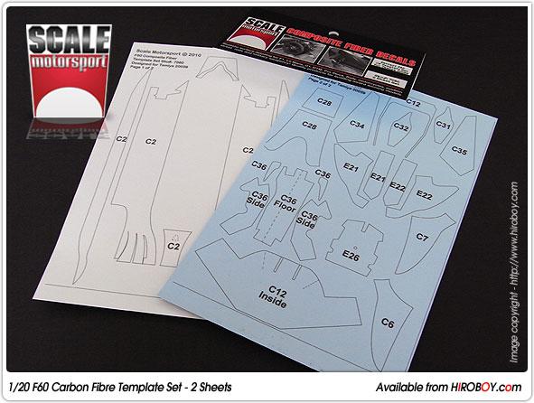 1 20 ferrari f60 2 sheet composite fiber decal template set 7060 sku7060 scale motorsport. Black Bedroom Furniture Sets. Home Design Ideas
