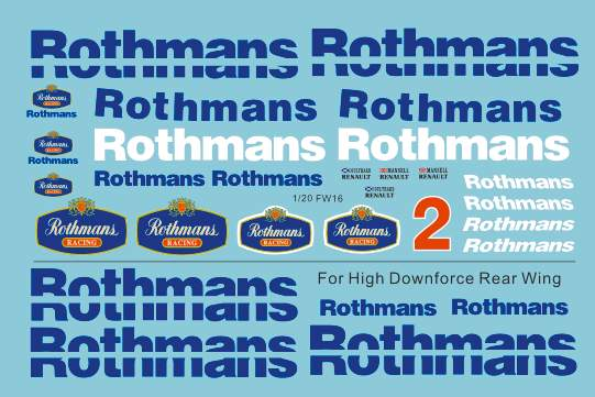 1 20 Williams Fw16 Sponsor Decal Rothmans For Fujimi