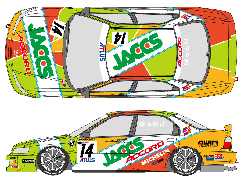 1 24 Jaccs Honda Accord 1996 Decals For Tamiya Kit 24180