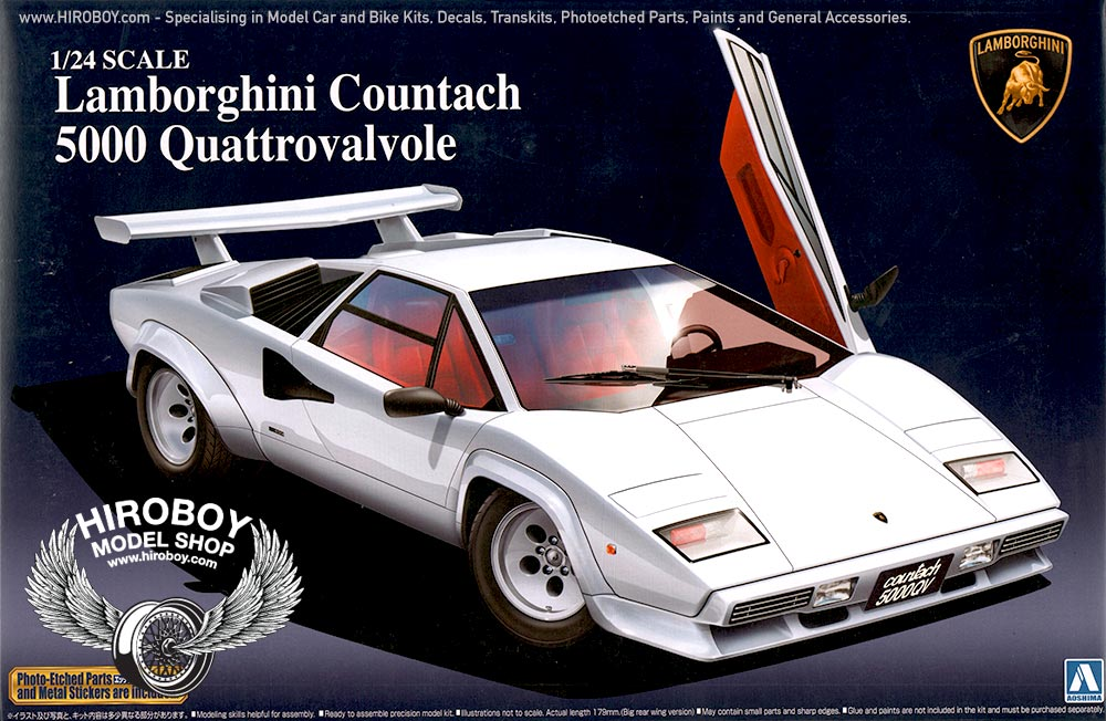 1 24 lamborghini countach 5000 quattrovalvole model kit aos 048818 aoshima. Black Bedroom Furniture Sets. Home Design Ideas