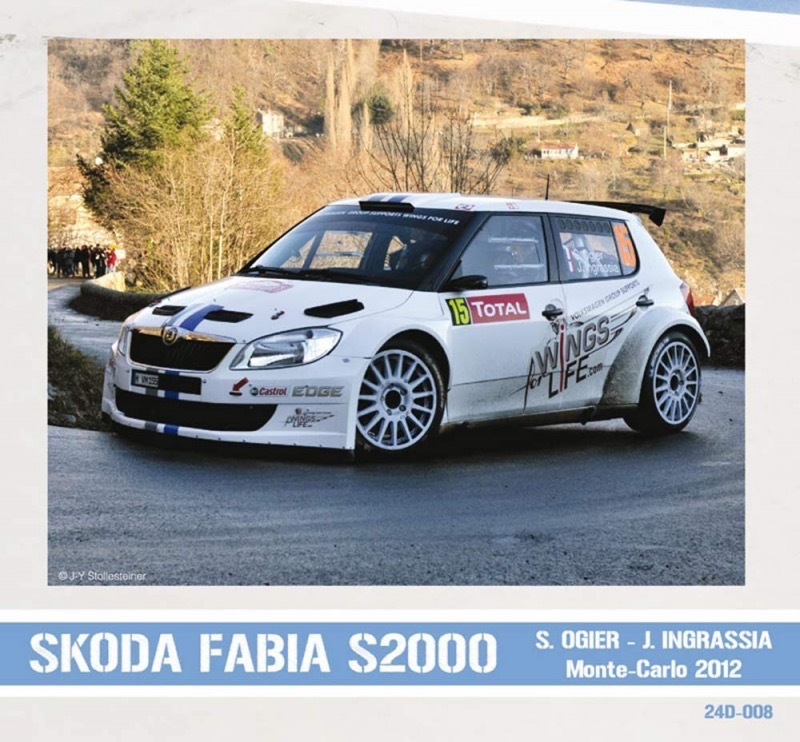 1 24 skoda fabia s2000 s ogier monte carlo rally france 2012 decals pw 24d 008 pitwall. Black Bedroom Furniture Sets. Home Design Ideas