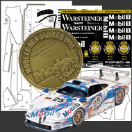 1 24 warsteiner porsche 911 gt1 composite fiber decal template set tamiya 9111 sku9111. Black Bedroom Furniture Sets. Home Design Ideas