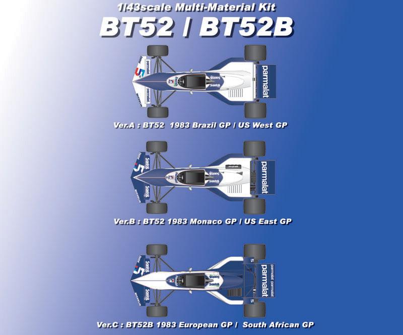 F1 DECALS KIT 1//43 BRABHAM BMW BT 52 F1 1983 PIQUET-PATRESE 1//43 DECALS