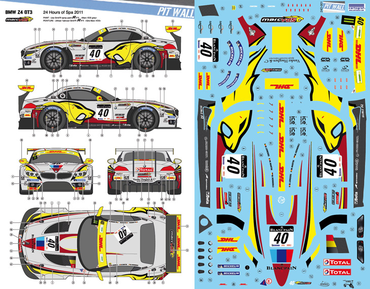 Bmw Z4 Gt3 Marc Vds 24hours Of Spa 2011 Decals Fujimi Pw 24d 001 Pitwall