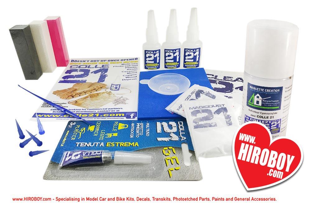 Colle21 Pro Kit (3x CA Glue 21g, 1x Gel Glue 3g, 2x Magic Dust, 1x Abrasive  Pad, 3x Sanding Sticks, 1x Glue Applicator, 1 x Activator and Mixing