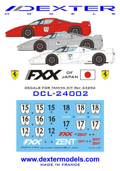 1 24 Ferrari Fxx Japanese Decals Dcl 24002 Dexter Models